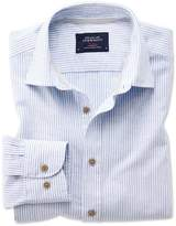 Charles Tyrwhitt Slim Fit Popover Mid Blue Stripe Cotton Casual Shirt Single Cuff Size Large