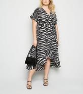 New Look Curves Zebra Print Midi Wrap Dress