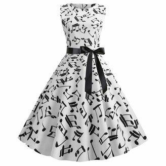 RANTA Women's Dress Audrey Hepburn Chic Evening Cocktail 1950s Audrey Hepburn Classic Fashion Women Ruched Print Party Slim Cocktail Bodycon Polka Dot with Belt Skirt - Multicolour - One Size