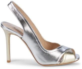 Casadei Metallic Leather Slingback Sandals