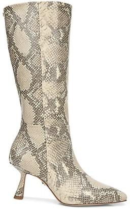 Sam Edelman Samira Knee-High Snakeskin-Embossed Leather Boots