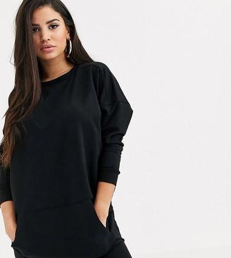 Asos DESIGN Petite sweat dress with front pocket-Black