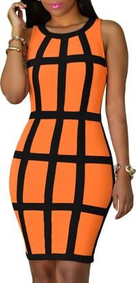 YMING Ladies Pencil Dress Sleeveless Dress Slim Fit Summer Dress Party Dress Orange M/UK 12