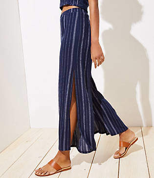 LOFT Beach Striped Crinkle Wide Leg Pants
