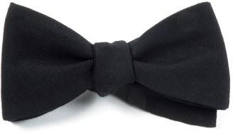 Tie Bar Solid Wool Black Bow Tie
