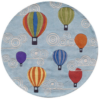 Momeni Lil Mo Whimsy Polyester, Hand-Tufted Rug, Multi, 5'x5' Round
