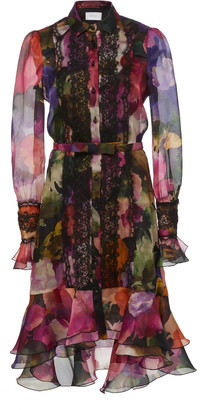 Marchesa Lace-Trimmed Ruffled Floral-Print Chiffon Mini Dress