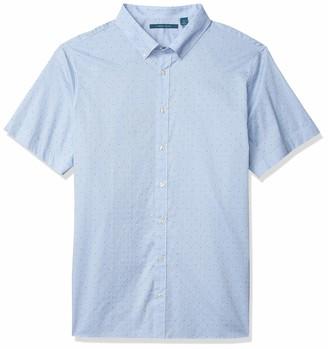 Perry Ellis Men's Big & Tall Short Sleeve Dobby Dot Button Down B&T Shirt