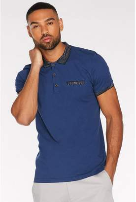 Quiz Contrast Collar and Sleeve Polo in Blue