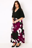 Yours Clothing Black & Multi Brush Stroke Print Maxi Dress With Cold Shoulder