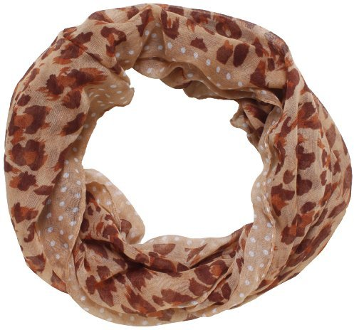 D&Y Women's Polka Dot with Leopard Print Scarf