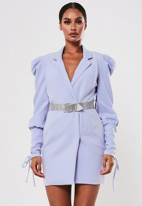 Missguided Lilac Embellished Belt Blazer Dress