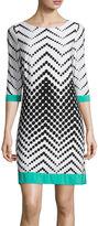 Studio 1 3/4-Sleeve Chevron Dot Shift Dress
