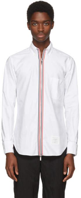 Thom Browne White Zip Front Classic Shirt
