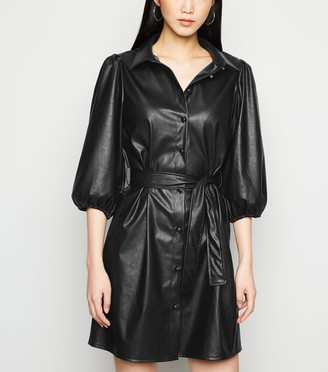 New Look Leather-Look Puff Sleeve Belted Shirt Dress