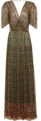 BA&SH Perla Open-back Printed Metallic Plisse-tulle Maxi Dress