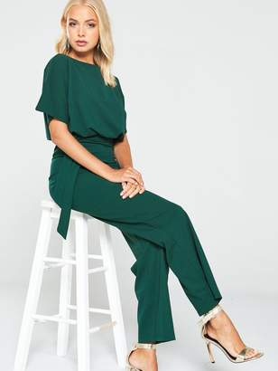 AX Paris Tie Waist Jumpsuit -Teal
