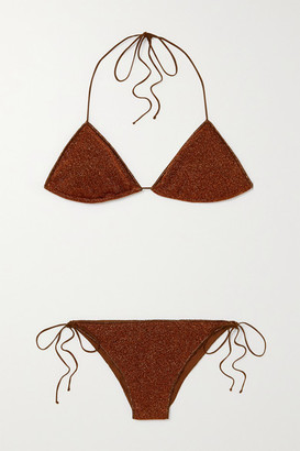 Oseree Lumiere Stretch-lurex Halterneck Triangle Bikini - Brown