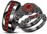 TVS-JEWELS TVS- JEWELS Engagement Ring Trio Set Elegant Design Round Cut Red Garnet Black Rhodium Plated 925 Silver