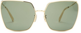 Celine Butterfly Square Metal Sunglasses - Womens - Green Gold