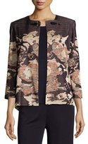 Misook Floral Impressionism 3/4-Sleeve Jacket, Navy/Rust/Gold, Plus Size