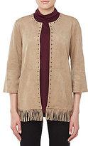 Allison Daley Stud Embellished Open Front Faux Suede Jacket