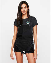 Express black distressed denim overall shorts
