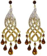 Ever Faith Curve Floral Teardrop Austrian Crystal Dangle Earrings N00683-1