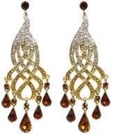 Ever Faith Gold-Tone Curve Ribbon Teardrop Austrian Crystal Chandelier Earrings N00683-5