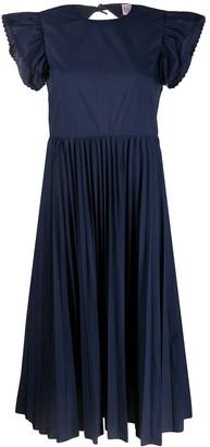 RED Valentino Open-Back Pleated Skirt Midi Dress