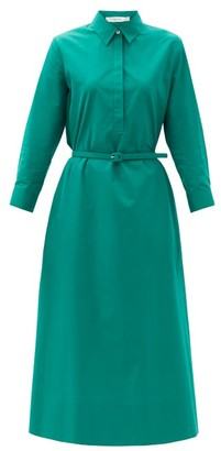 The Row Tanita Belted Cotton Shirt Dress - Green