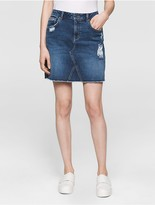 Calvin Klein Mid-Blue Destructed A-Line Skirt