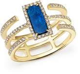 Meira T 14K Yellow Gold Triple Band Opal and Diamond Ring