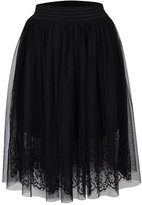 YesFashion Women's Solid Color Sexy Lace Elastic Waist Bust Bubble Skirt M