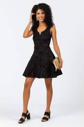 francesca's Fianna Floral Sparkle Dress - Black