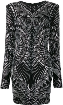 Balmain crystal-embellished fitted dress