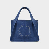 Stella McCartney Stella Logo Tote In Blue Denim With Embossed Logo