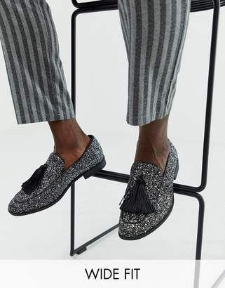Asos Design DESIGN Wide Fit loafers in black glitter with tassel detail