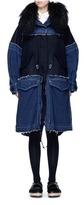 Sacai 'Runway' shearling denim patchwork military coat