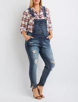 Charlotte Russe Plus Size Dollhouse Distressed Denim Overalls
