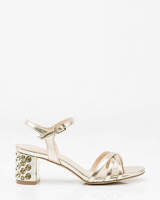 Le Château Jewel Embellished Block Heel Sandal