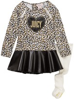 Juicy Couture Animal Print Pleather Bottom Dress & Tight Set (Toddler Girls)