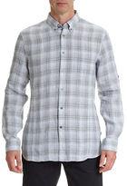 John Varvatos Linen Roll-Sleeve Button-Down Shirt
