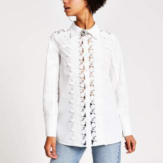 River Island Womens White embroidered long sleeve shirt