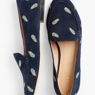 Talbots Ryan Keeper Loafers - Embroidered Peacock Feathers