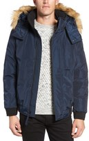 Andrew Marc Knox Down & Feather Bomber Jacket with Removable Faux Fur Trim Hood