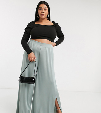 ASOS DESIGN Curve super high split trouser in satin