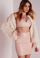 Missguided Faux Leather Mini Skirt Nude
