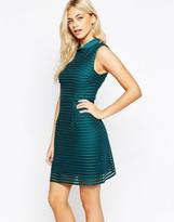 Oasis Stripe Mesh High Neck Dress