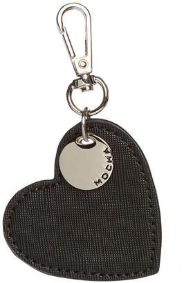 Mocha Initial Heart Saffiano Keyring - Black/Silver Two